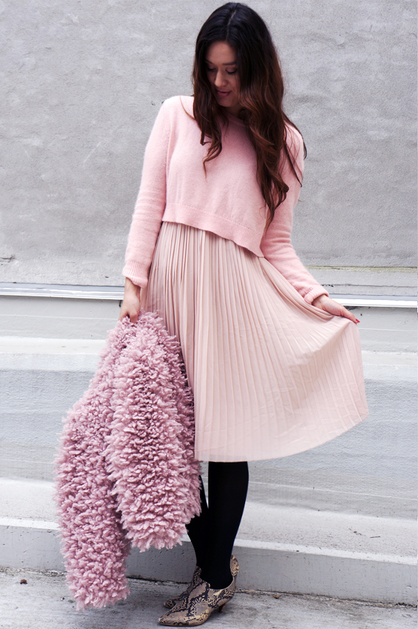 pink blogger outfit, pink fashion, hm outfit, pretty pink, light pink