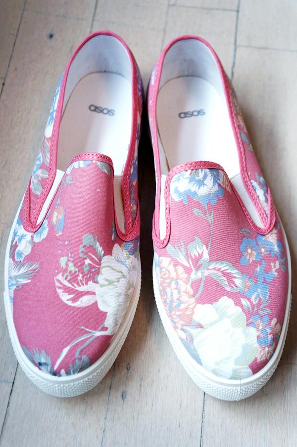 lyserøde blomster sko, flower shoes