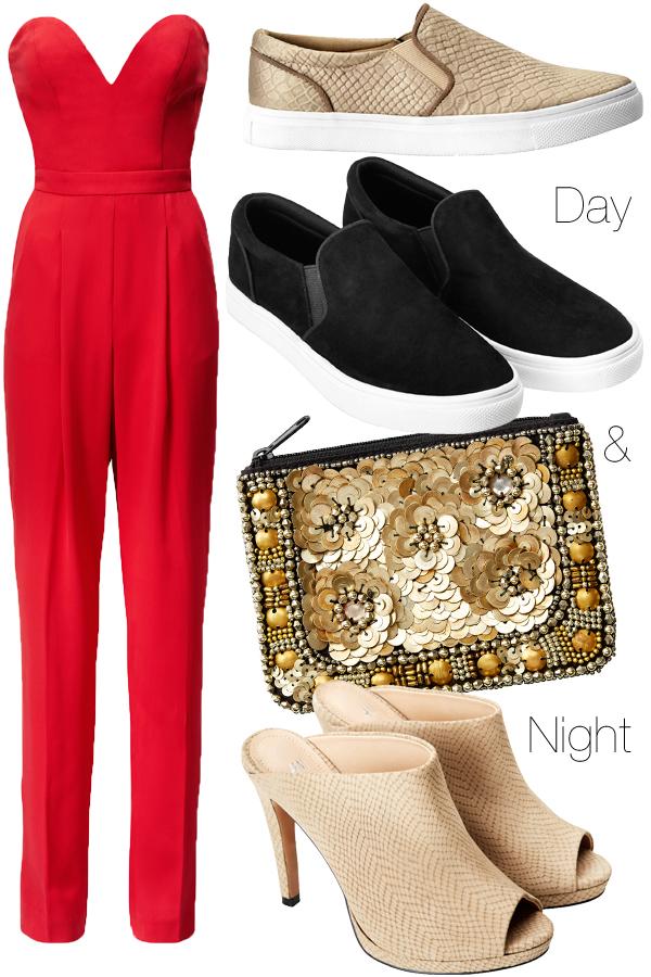 hm sommer 2014, hm red jumpsuit, hm rød buksedragt, red jumpsuit, hm buksedragt 2014, palliettaske, embellished clutch, hm clutch 2014, slip ons hm, sorte sneakers hm loafers hm, golden snake slip ons h&m, H&M loafers, sorte plimrolls, slip ons hm, SLIP-IN sko, SLIP-IN  sandal, beige slangeprint sko, it shoe 2014, hm slipper