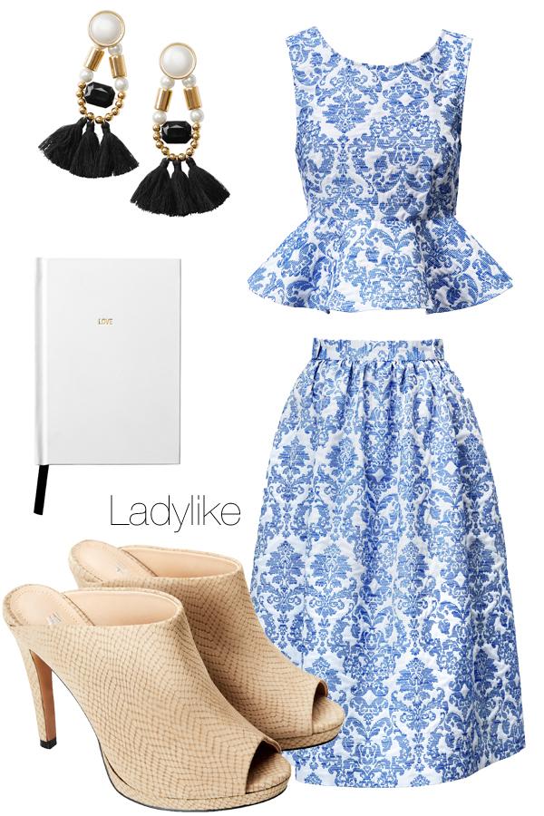 hm summer 2014, hm matching set, dress blouse matchy, nederdel og bluse sæt, slip on high heels, love note book, perleøreinge H&M, pearl earrings H&M, ladylike sæt, ladylike outfit, hm sommer 2014
