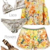 lace underwear, bronze sandaler, hm sommer tøj 2014, short og bluse set, shorts and top set, blomstrert sæt