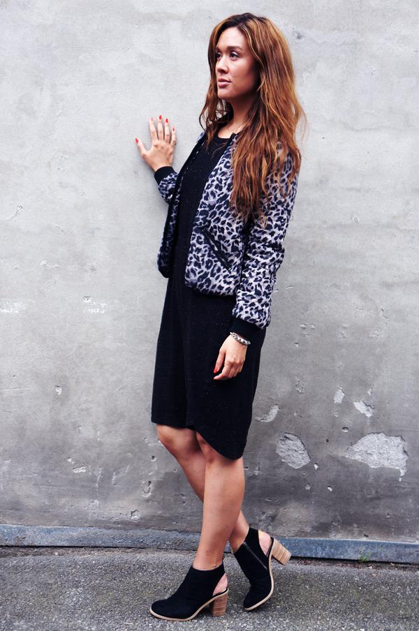 leopard jakke vero moda, kjole vila, sko hm, blogger outfit, leopard jacket, dress vila
