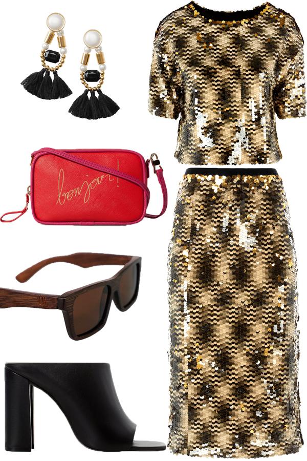 TrendWood Casual, TrendWood Casual solbriller, TrendWood sunnies, TrendWood Casual sunglasses, zara body bag, pallietsæt HM, sequin skirt and tip H&M, træsolbriller, hm øreringe, pallietnederdel gylden hm, hm matching set