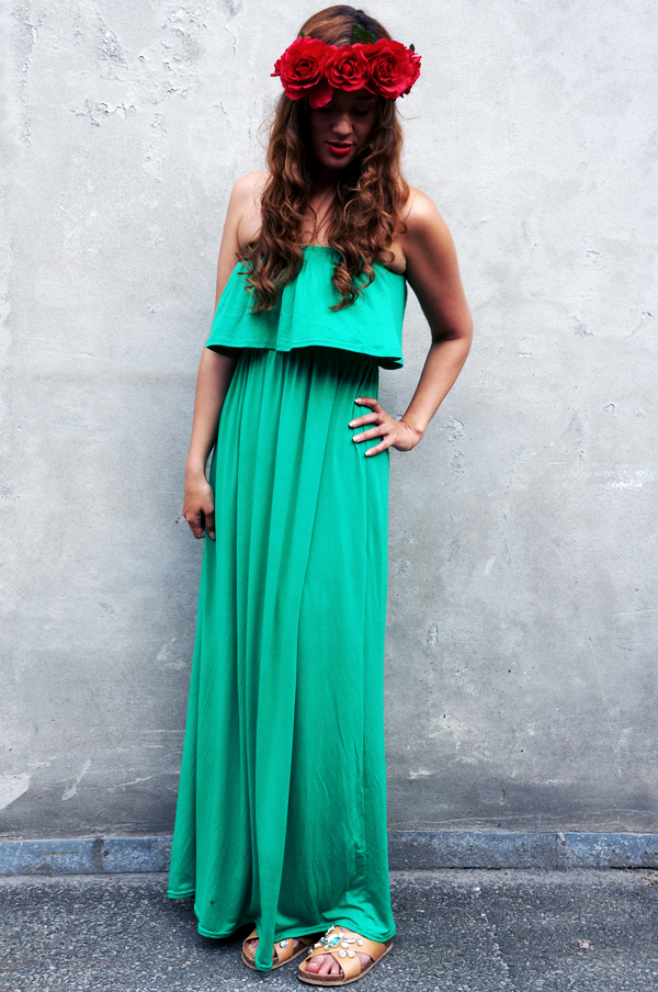 outfit maxikjole, grøn lang kjole, sommerkjole, summer dress