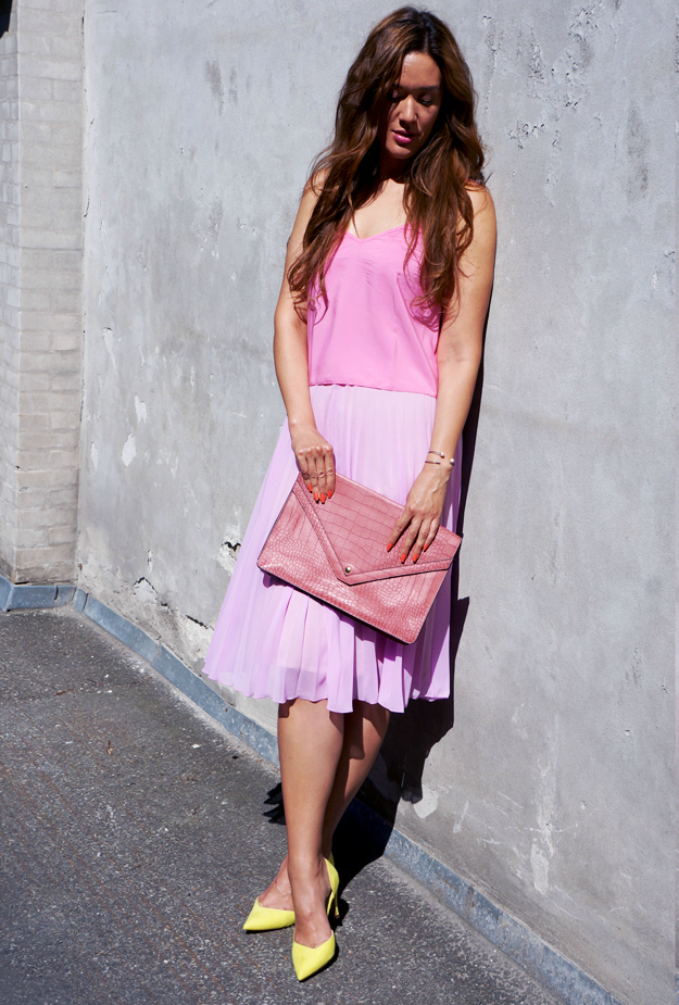 sommer 2014, pink asos nededel, asos skirt, lemon shoes