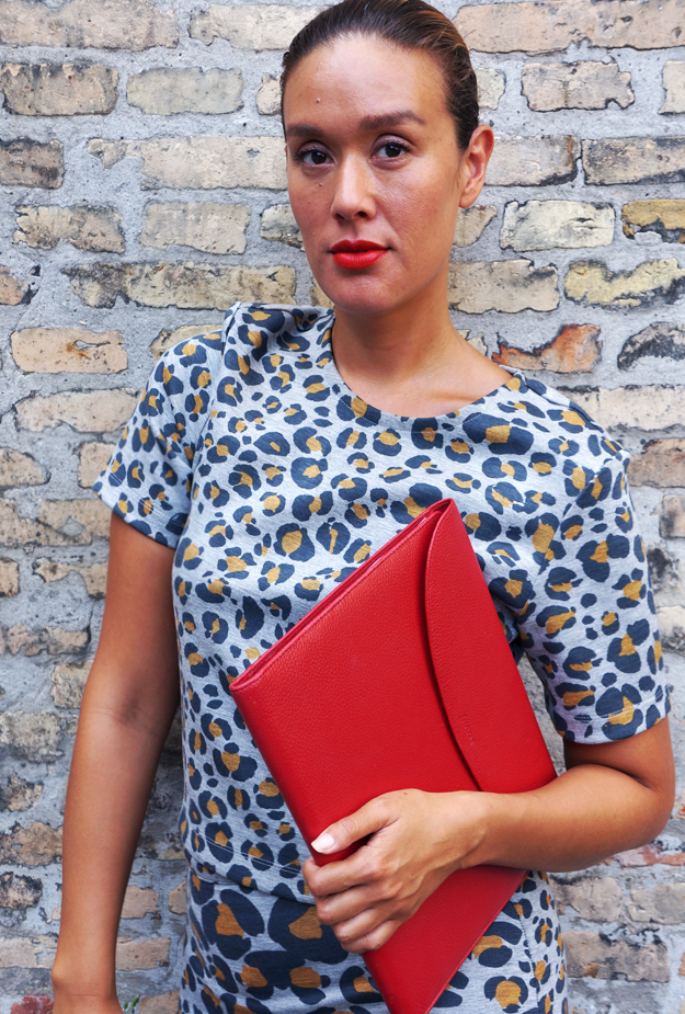 red lipstick, rød læbestift, red clutch, outfit, blogger outfit, leopard hm, animal print hm