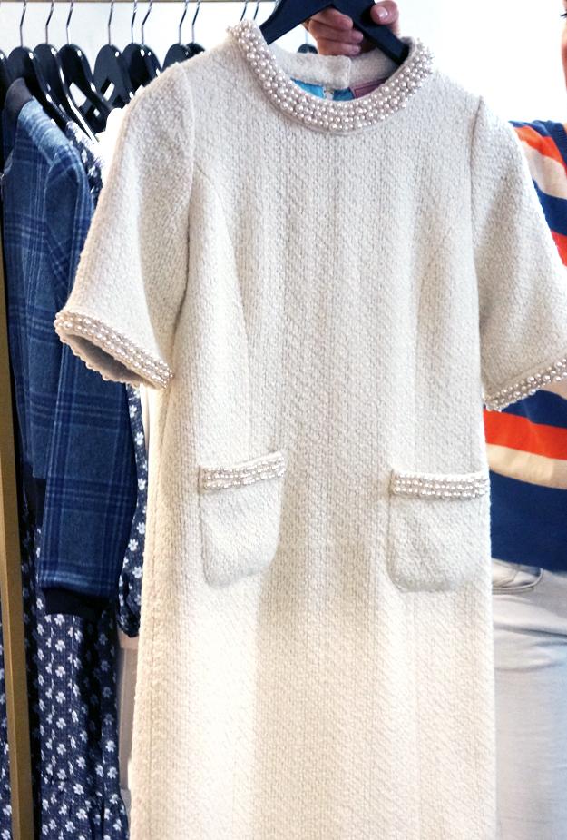 chanel agtig kjole, edith og ella kjole, tweed kjole med perler, pearl dress