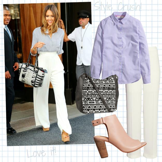 jessica alba, casual look, hm, jessica alba style, blå skjorte, high waisted white pants, højtalede hvide bukser