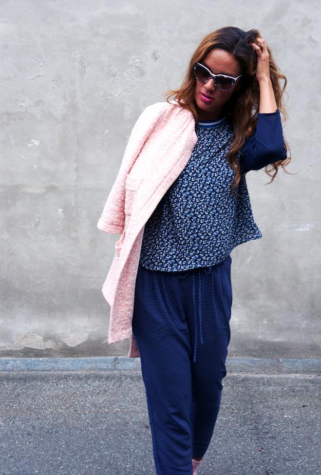 outfit, mørkeblå bukser hm, hm tøj, hm pants, hm blouse