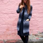 plus fine frakke, plus fine Manza Maxi Jacket, vinterfrakke, stribet frakke