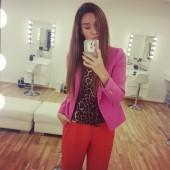 suit, zara, red pants, røde bukser, pink blazer, leopard bluse asos