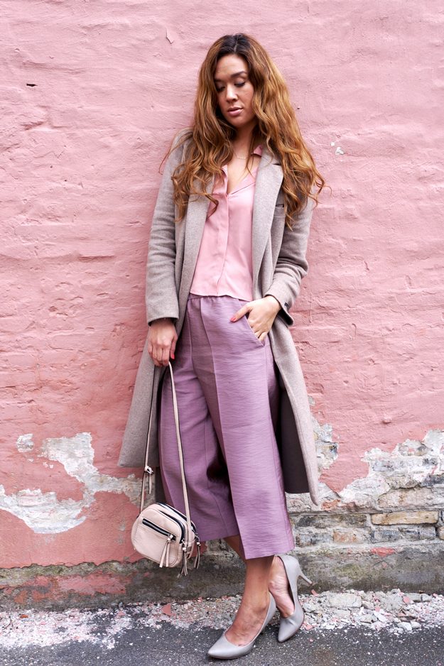 Vide bukser, Gammelrosa bukser, culotte bukser, culotte pants, H&M culotte bukser,