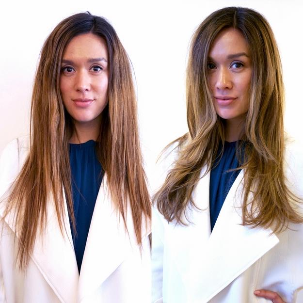 før og efter klip og farve frisør, før og efter frisør københavn, før og efter balayage, lysebrunt hår frisør asiat