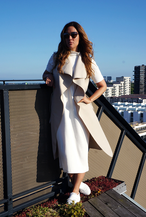 OLIVIA WATERFALL BELTED SLEEVELESS COAT boohoo, tagterrasse hotel stay cph, outfit modeblog, boohoo