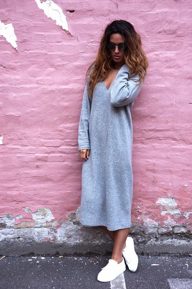 sweaterkjole hm,grå uldkjole hm