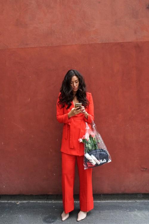 red suit woman, rødt jakkesæt, zara jakkesæt